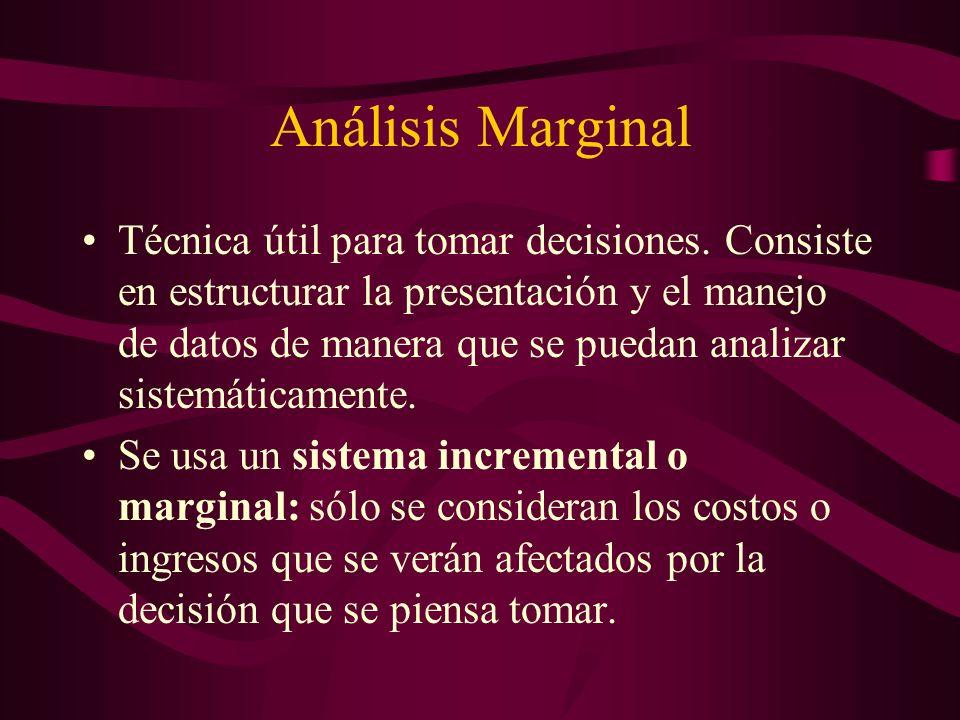 Análisis Marginal Técnica útil para tomar decisiones. Consiste en estructurar la presentación y el manejo de datos de manera que se puedan analizar si