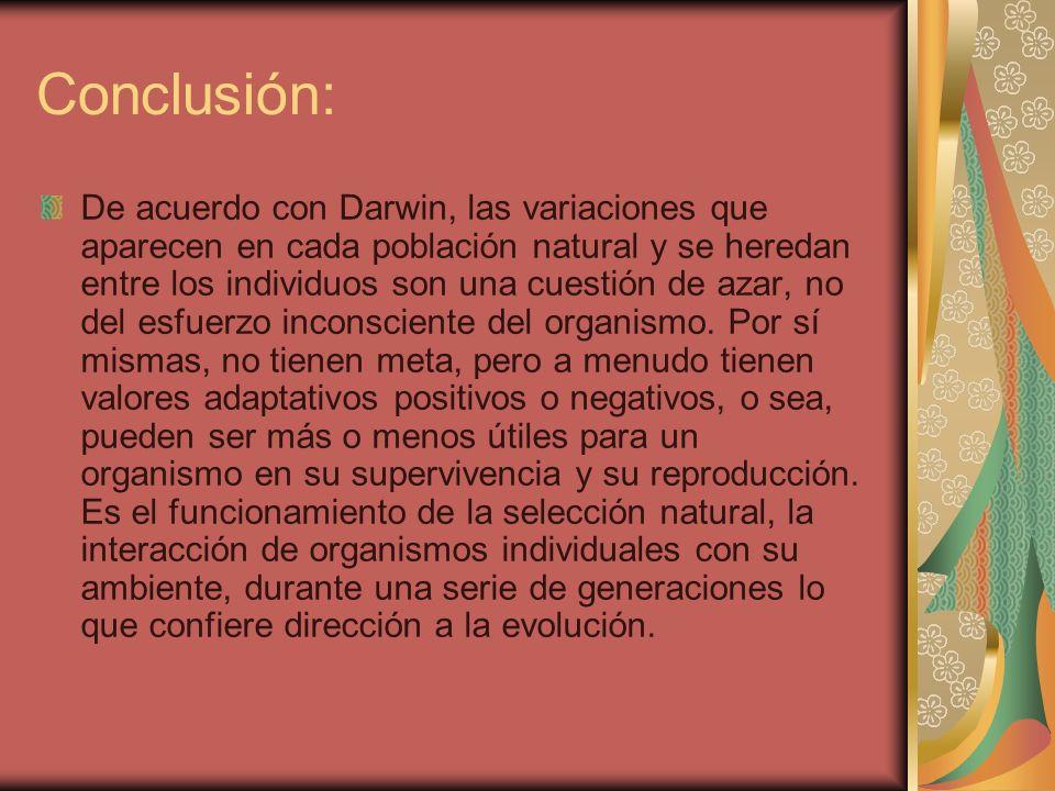 Conclusión: De acuerdo con Darwin, las variaciones que aparecen en cada población natural y se heredan entre los individuos son una cuestión de azar,