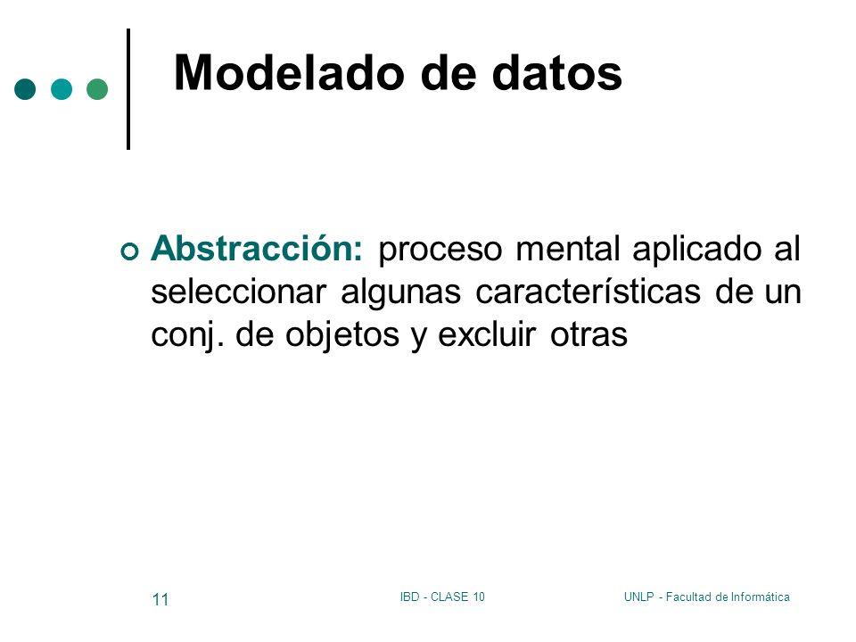 UNLP - Facultad de InformáticaIBD - CLASE 10 11 Modelado de datos Abstracción: proceso mental aplicado al seleccionar algunas características de un co