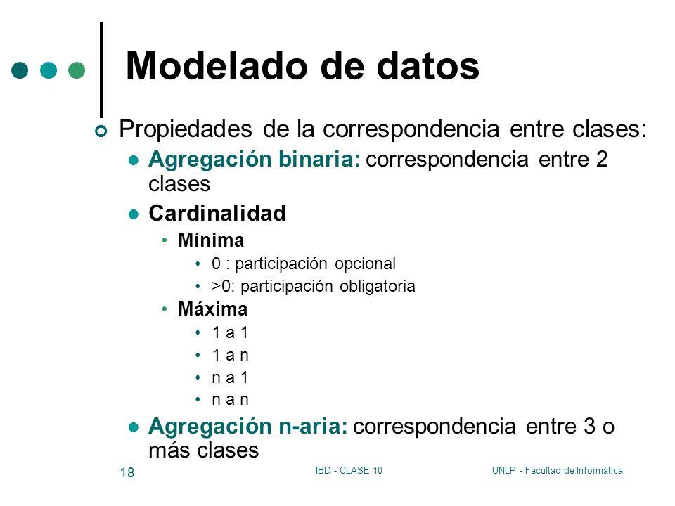 UNLP - Facultad de InformáticaIBD - CLASE 10 18 Modelado de datos Propiedades de la correspondencia entre clases: Agregación binaria: correspondencia