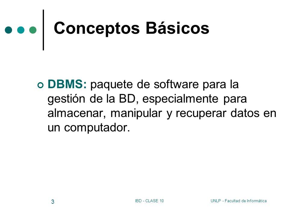 UNLP - Facultad de InformáticaIBD - CLASE 10 3 Conceptos Básicos DBMS: paquete de software para la gestión de la BD, especialmente para almacenar, man