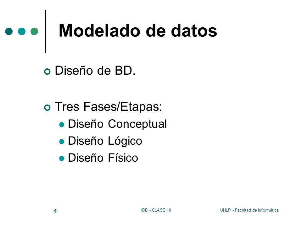 UNLP - Facultad de InformáticaIBD - CLASE 10 5 Modelado de datos Diseño Conceptual (representación abstracta) Propósito: describir el contenido de información de la BD, más que las estructuras de almacenamiento Esquema Conceptual: descripción de alto nivel de la estructura de la BD, independiente del DBMS que la manipula.