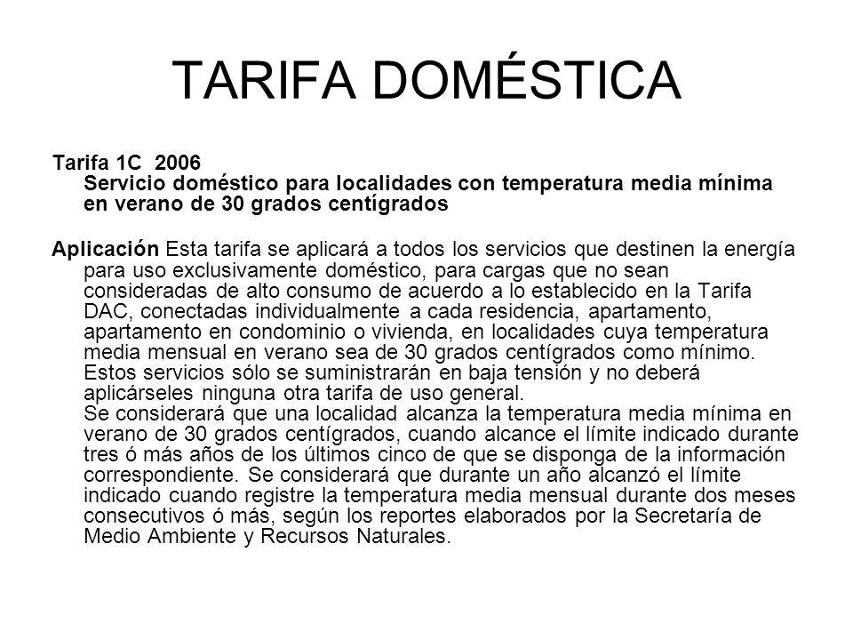 TARIFA DOMÉSTICA Tarifa 1C 2006 Servicio doméstico para localidades con temperatura media mínima en verano de 30 grados centígrados Aplicación Esta ta