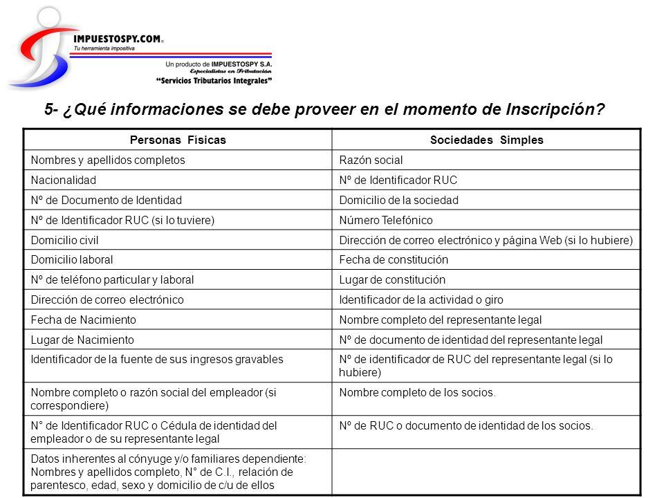 5- ¿Qué informaciones se debe proveer en el momento de Inscripción? Personas FísicasSociedades Simples Nombres y apellidos completosRazón social Nacio
