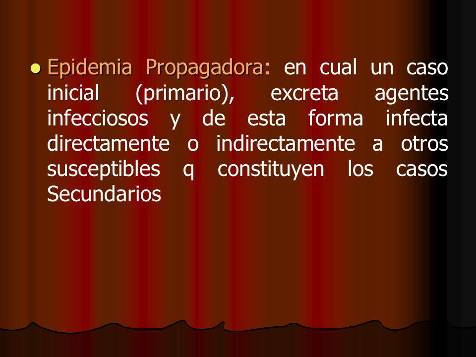 Epidemia Propagadora Epidemia Propagadora: en cual un caso inicial (primario), excreta agentes infecciosos y de esta forma infecta directamente o indi