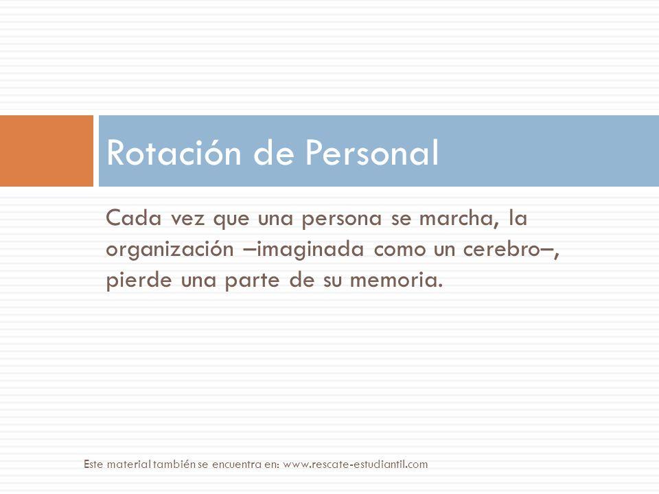 Cada vez que una persona se marcha, la organización –imaginada como un cerebro–, pierde una parte de su memoria. Rotación de Personal Este material ta