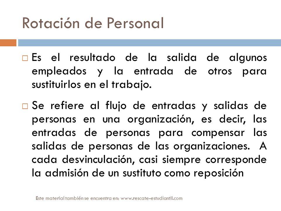 Rotación de Personal Es el resultado de la salida de algunos empleados y la entrada de otros para sustituirlos en el trabajo. Se refiere al flujo de e