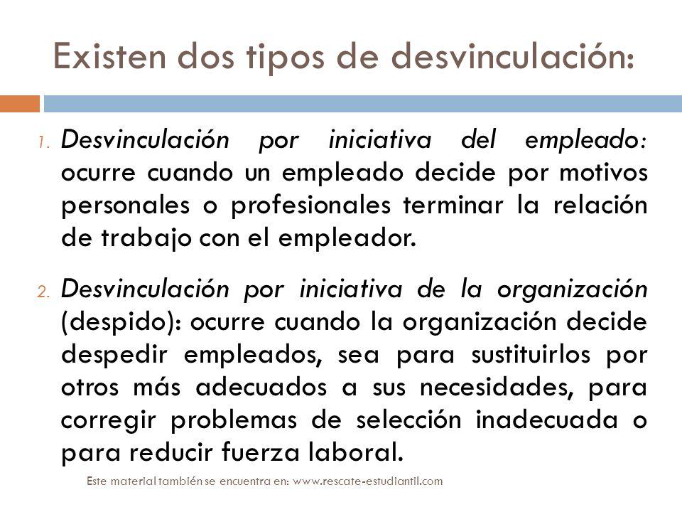 Existen dos tipos de desvinculación: 1. Desvinculación por iniciativa del empleado: ocurre cuando un empleado decide por motivos personales o profesio