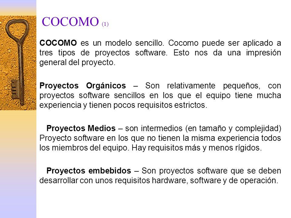 COCOMO (1) COCOMO es un modelo sencillo. Cocomo puede ser aplicado a tres tipos de proyectos software. Esto nos da una impresión general del proyecto.