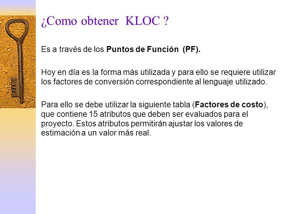 ¿Como obtener KLOC ? Es a través de los Puntos de Función (PF). Hoy en día es la forma más utilizada y para ello se requiere utilizar los factores de