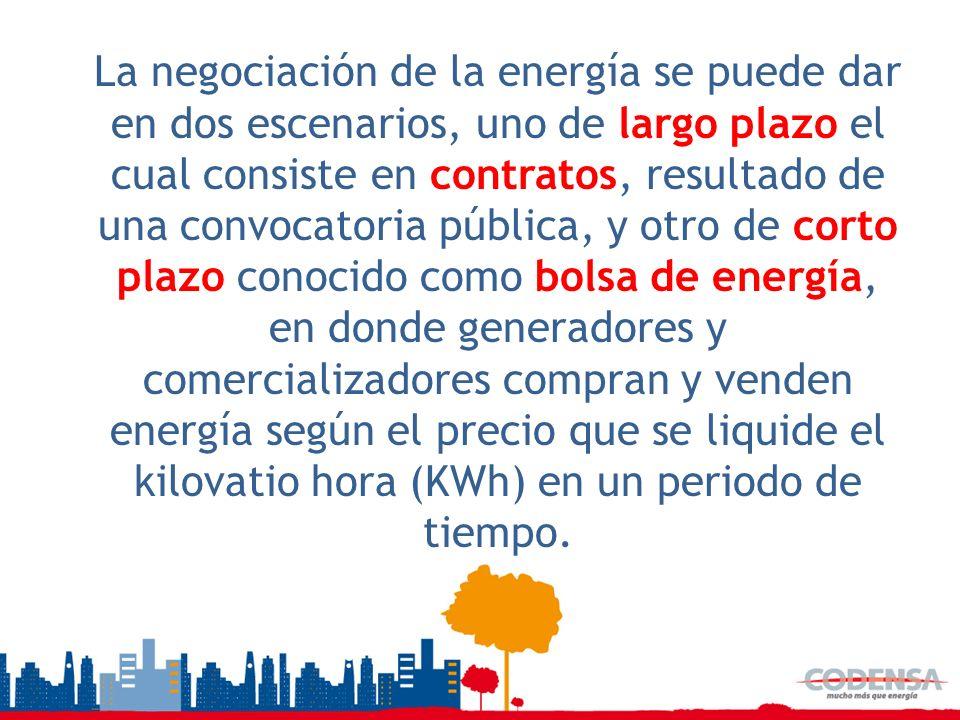La negociación de la energía se puede dar en dos escenarios, uno de largo plazo el cual consiste en contratos, resultado de una convocatoria pública,