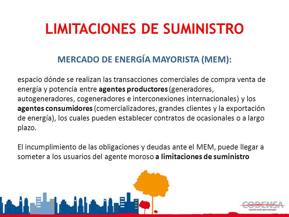 LIMITACIONES DE SUMINISTRO MERCADO DE ENERGÍA MAYORISTA (MEM): espacio dónde se realizan las transacciones comerciales de compra venta de energía y po