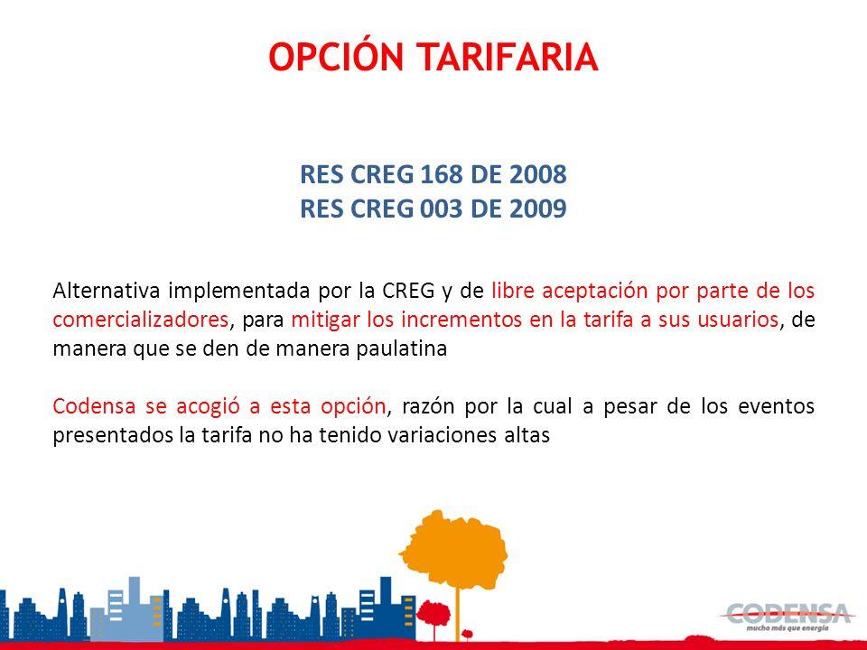 OPCIÓN TARIFARIA RES CREG 168 DE 2008 RES CREG 003 DE 2009 Alternativa implementada por la CREG y de libre aceptación por parte de los comercializador