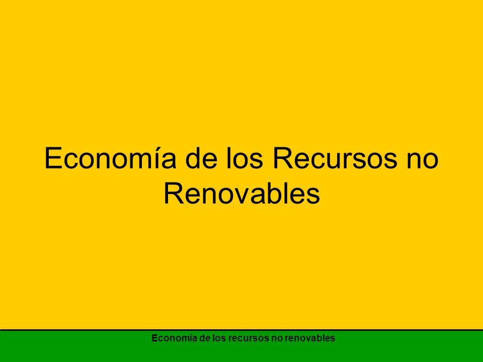 Economía de los recursos no renovables Variación de la tecnología de reemplazo P B P B P 0 P 0 cantidad tiempo TT Existencias de recursos Demanda de RNR 45º Senda de precios