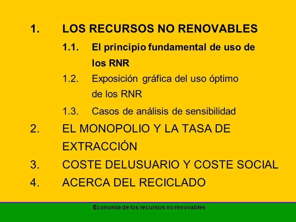Economía de los recursos no renovables 1.LOS RECURSOS NO RENOVABLES 1.1.El principio fundamental de uso de los RNR 1.2.Exposición gráfica del uso óptimo de los RNR 1.3.Casos de análisis de sensibilidad 2.