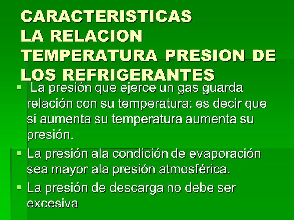 CARACTERISTICAS LA RELACION TEMPERATURA PRESION DE LOS REFRIGERANTES La presión que ejerce un gas guarda relación con su temperatura: es decir que si