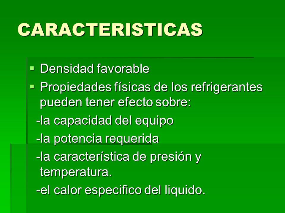 CARACTERISTICAS Densidad favorable Densidad favorable Propiedades físicas de los refrigerantes pueden tener efecto sobre: Propiedades físicas de los r