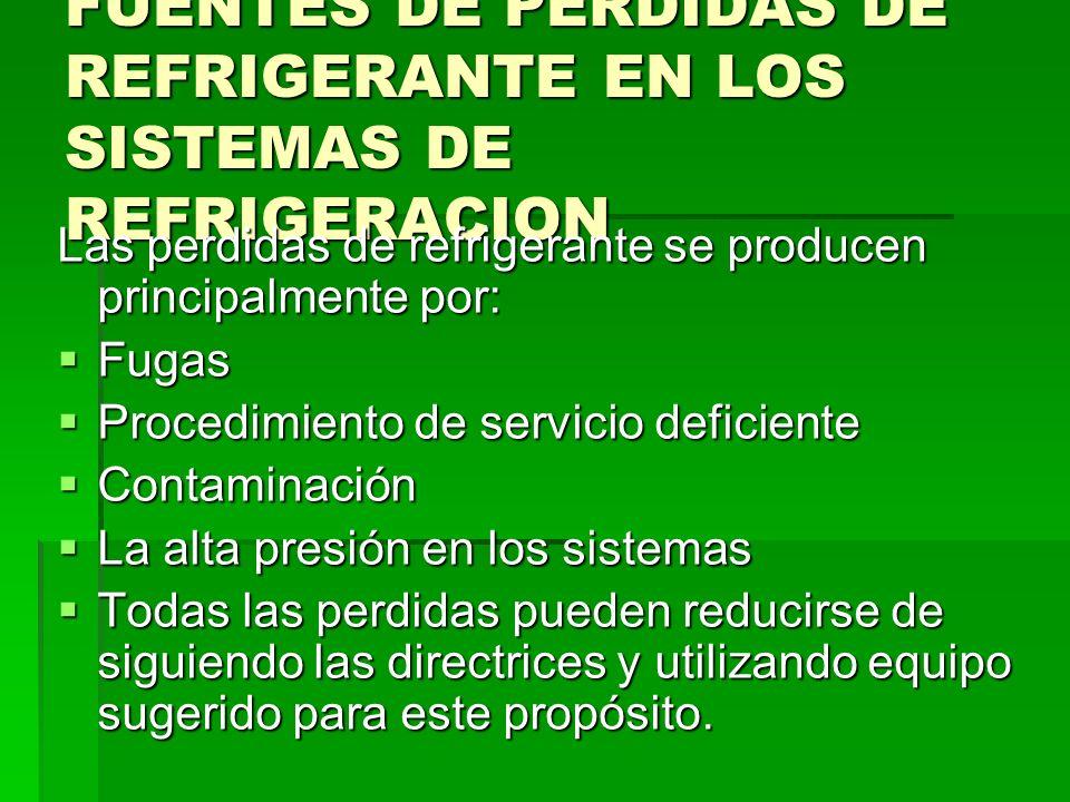 FUENTES DE PERDIDAS DE REFRIGERANTE EN LOS SISTEMAS DE REFRIGERACION Las perdidas de refrigerante se producen principalmente por: Fugas Fugas Procedim