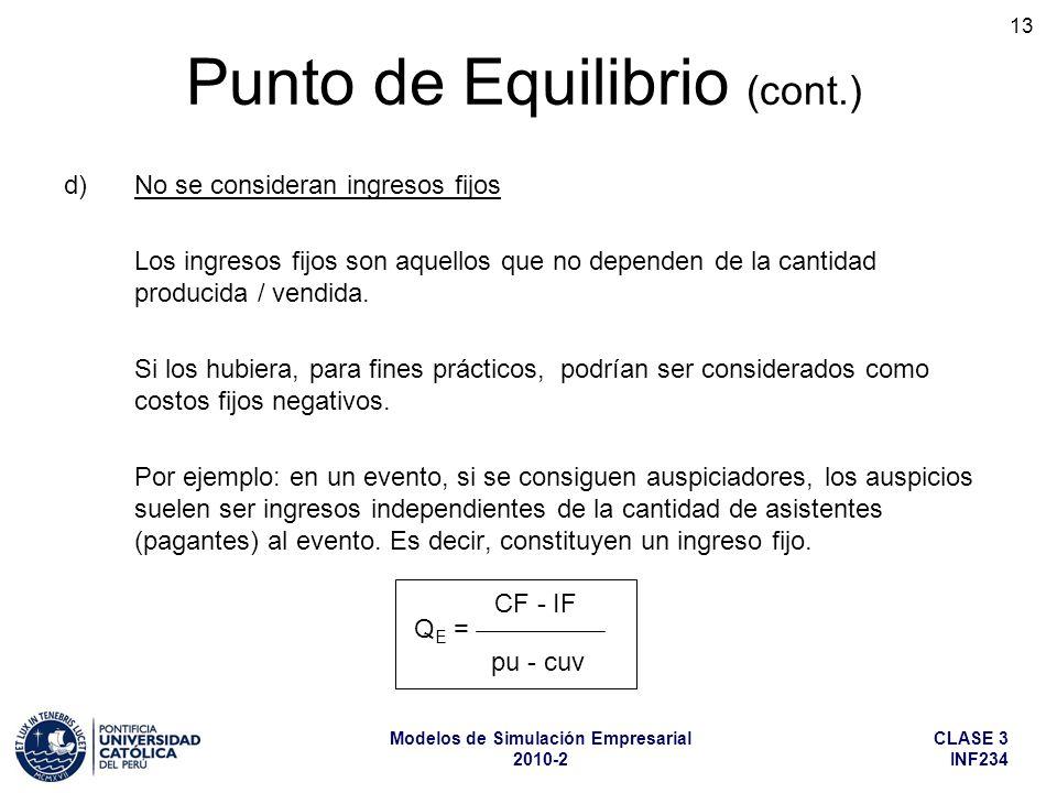CLASE 3 INF234 Modelos de Simulación Empresarial 2010-2 13 d)No se consideran ingresos fijos Los ingresos fijos son aquellos que no dependen de la can