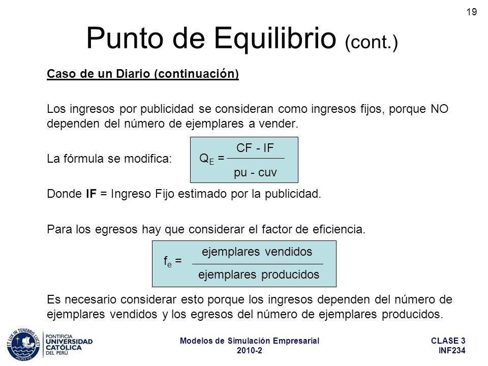 CLASE 3 INF234 Modelos de Simulación Empresarial 2010-2 19 Caso de un Diario (continuación) Los ingresos por publicidad se consideran como ingresos fi