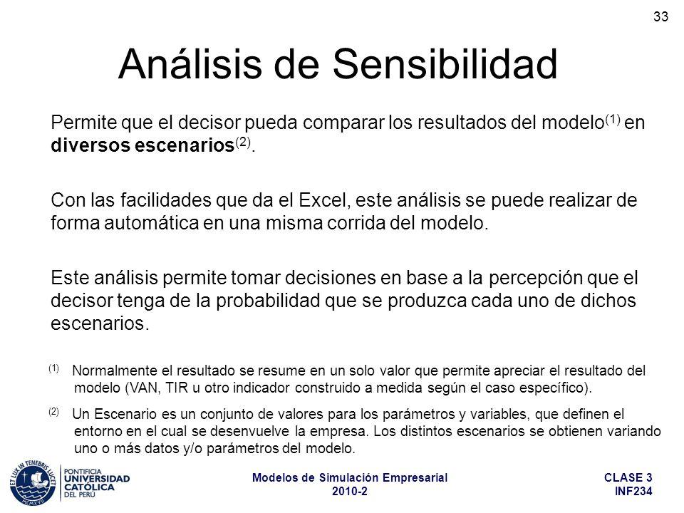 CLASE 3 INF234 Modelos de Simulación Empresarial 2010-2 33 Análisis de Sensibilidad (1) Normalmente el resultado se resume en un solo valor que permit