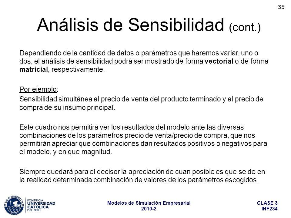 CLASE 3 INF234 Modelos de Simulación Empresarial 2010-2 35 Dependiendo de la cantidad de datos o parámetros que haremos variar, uno o dos, el análisis