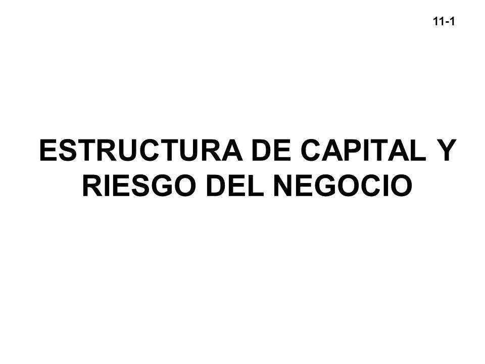 11-1 ESTRUCTURA DE CAPITAL Y RIESGO DEL NEGOCIO