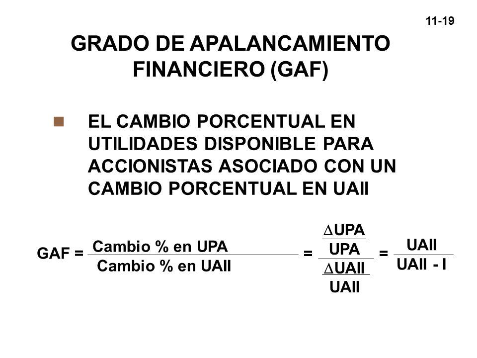 11-19 GRADO DE APALANCAMIENTO FINANCIERO (GAF) n EL CAMBIO PORCENTUAL EN UTILIDADES DISPONIBLE PARA ACCIONISTAS ASOCIADO CON UN CAMBIO PORCENTUAL EN U