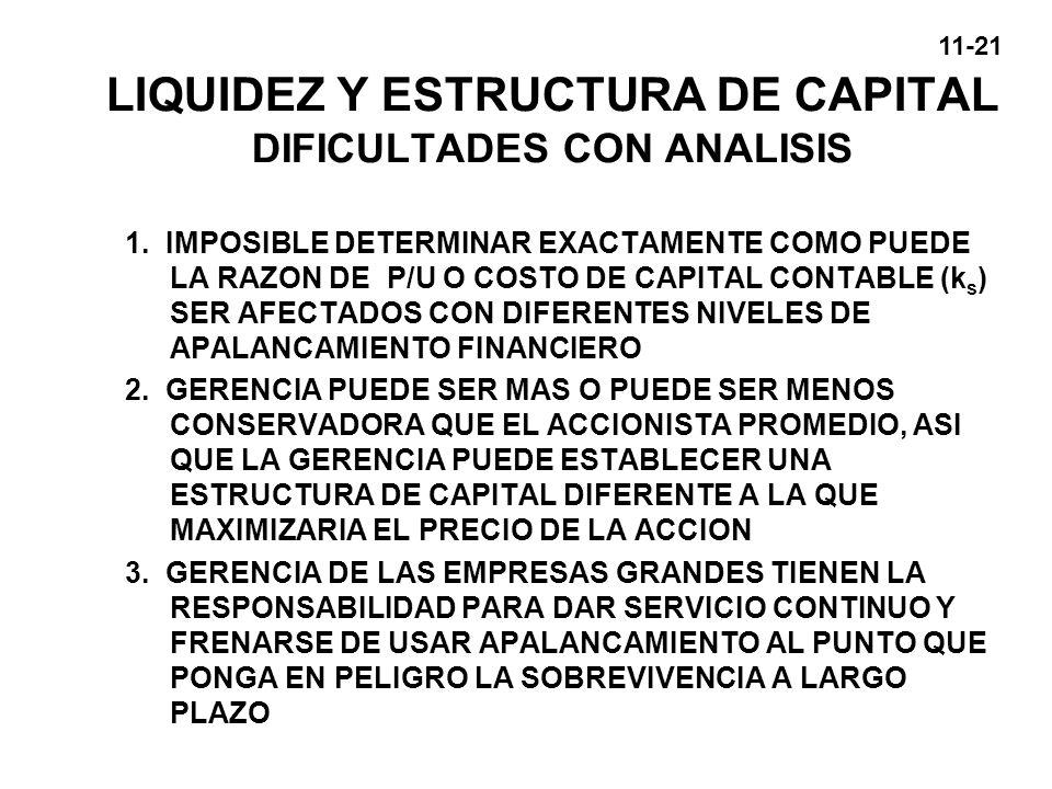 11-21 LIQUIDEZ Y ESTRUCTURA DE CAPITAL DIFICULTADES CON ANALISIS 1. IMPOSIBLE DETERMINAR EXACTAMENTE COMO PUEDE LA RAZON DE P/U O COSTO DE CAPITAL CON