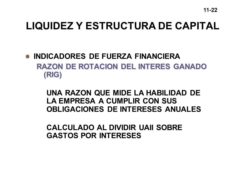 11-22 LIQUIDEZ Y ESTRUCTURA DE CAPITAL l INDICADORES DE FUERZA FINANCIERA RAZON DE ROTACION DEL INTERES GANADO (RIG) UNA RAZON QUE MIDE LA HABILIDAD D