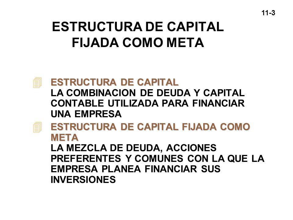 11-3 ESTRUCTURA DE CAPITAL FIJADA COMO META 4 ESTRUCTURA DE CAPITAL 4 ESTRUCTURA DE CAPITAL LA COMBINACION DE DEUDA Y CAPITAL CONTABLE UTILIZADA PARA