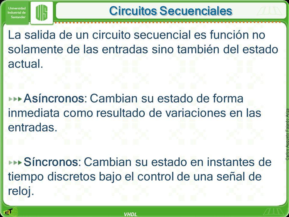 VHDL Carlos Augusto Fajardo Ariza Circuitos Secuenciales La salida de un circuito secuencial es función no solamente de las entradas sino también del