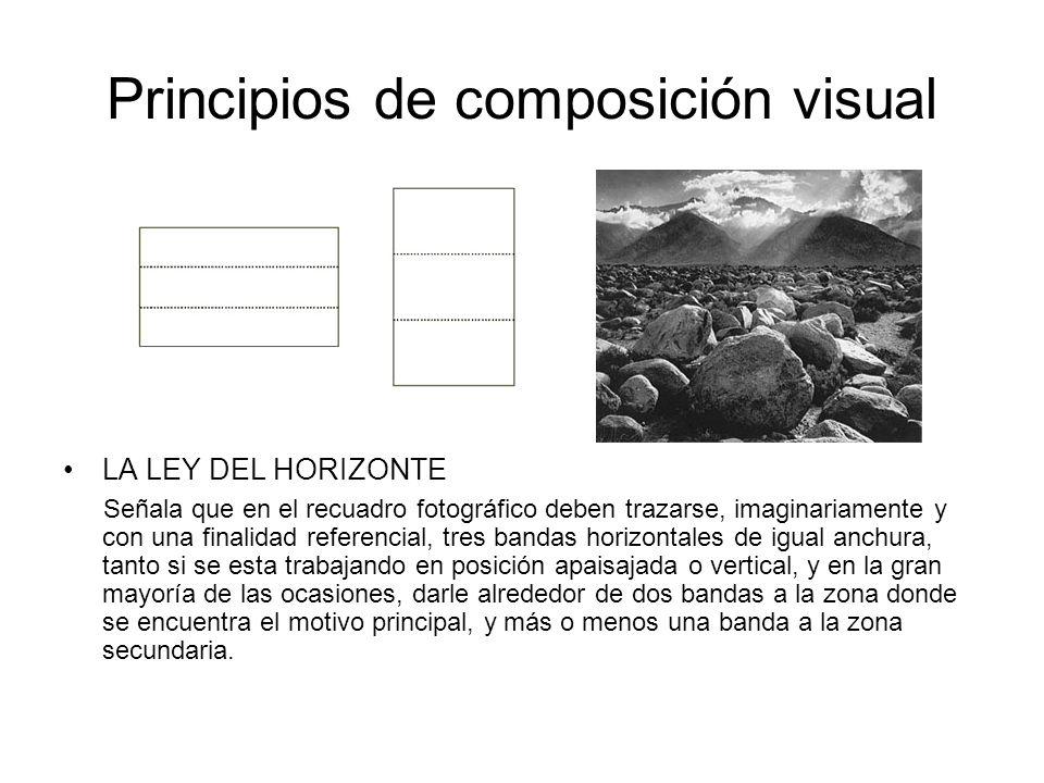 Principios de composición visual LA LEY DEL HORIZONTE Señala que en el recuadro fotográfico deben trazarse, imaginariamente y con una finalidad refere