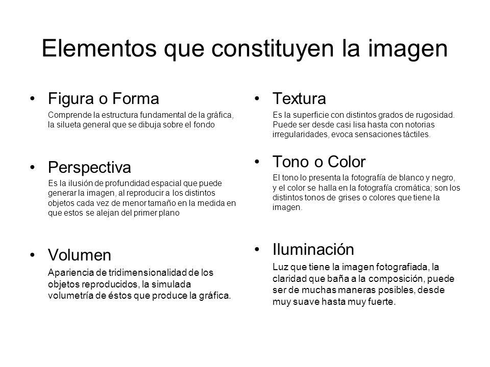 Elementos que constituyen la imagen Figura o Forma Comprende la estructura fundamental de la gráfica, la silueta general que se dibuja sobre el fondo