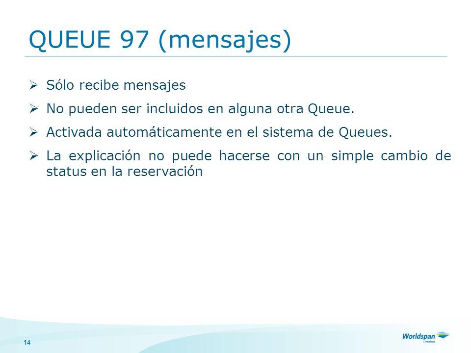 14 QUEUE 97 (mensajes) Sólo recibe mensajes No pueden ser incluidos en alguna otra Queue. Activada automáticamente en el sistema de Queues. La explica
