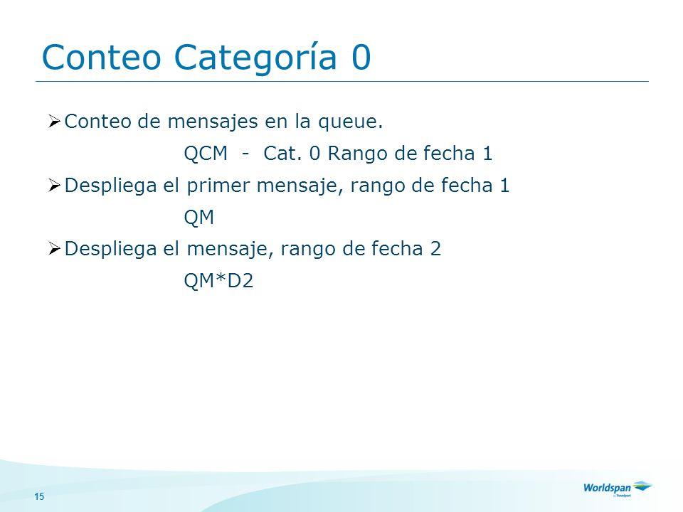 15 Conteo de mensajes en la queue. QCM - Cat. 0 Rango de fecha 1 Despliega el primer mensaje, rango de fecha 1 QM Despliega el mensaje, rango de fecha