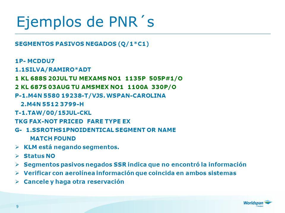 9 SEGMENTOS PASIVOS NEGADOS (Q/1*C1) 1P- MCDDU7 1.1SILVA/RAMIRO*ADT 1 KL 688S 20JUL TU MEXAMS NO1 1135P 505P#1/O 2 KL 687S 03AUG TU AMSMEX NO1 1100A 3