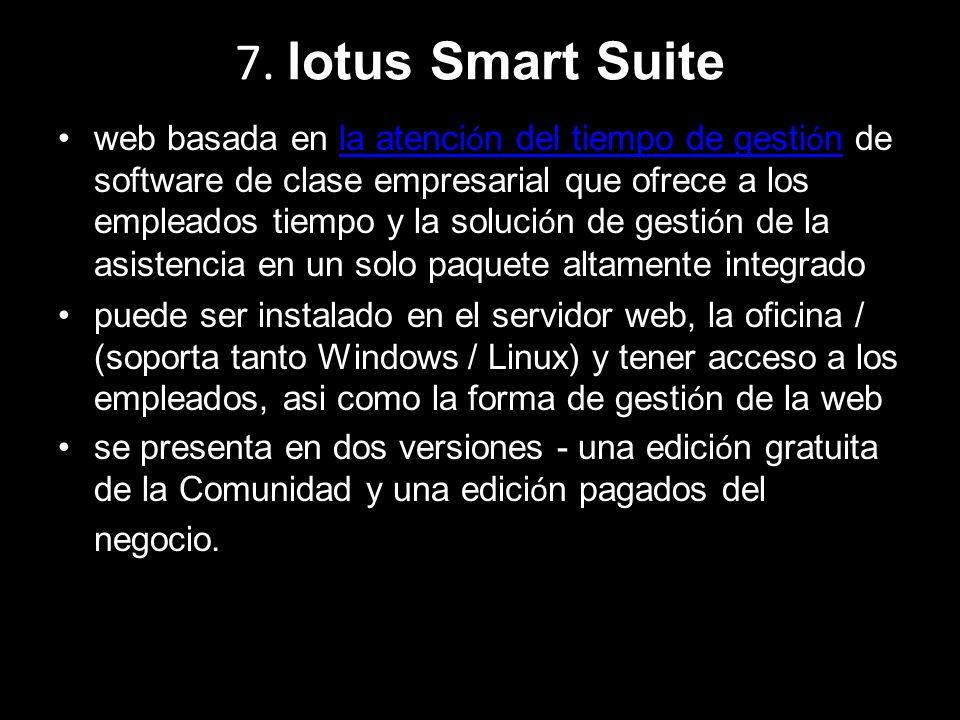 7. lotus Smart Suite web basada en la atenci ó n del tiempo de gesti ó n de software de clase empresarial que ofrece a los empleados tiempo y la soluc