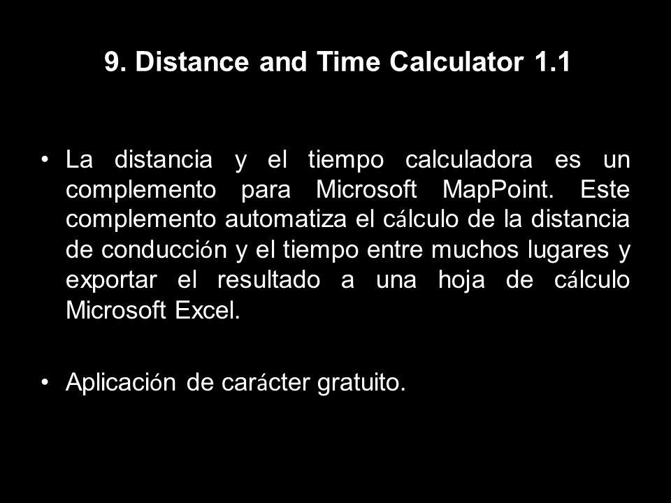 9. Distance and Time Calculator 1.1 La distancia y el tiempo calculadora es un complemento para Microsoft MapPoint. Este complemento automatiza el c á
