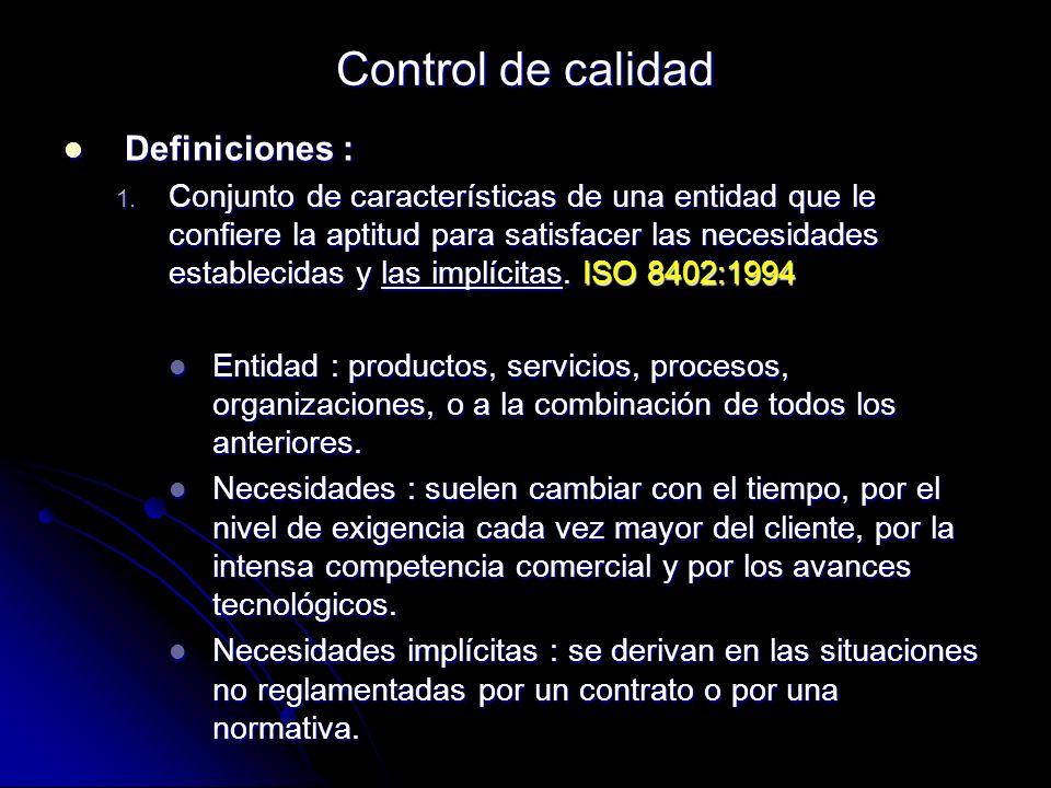 Control de calidad Definiciones : Definiciones : 1. Conjunto de características de una entidad que le confiere la aptitud para satisfacer las necesida