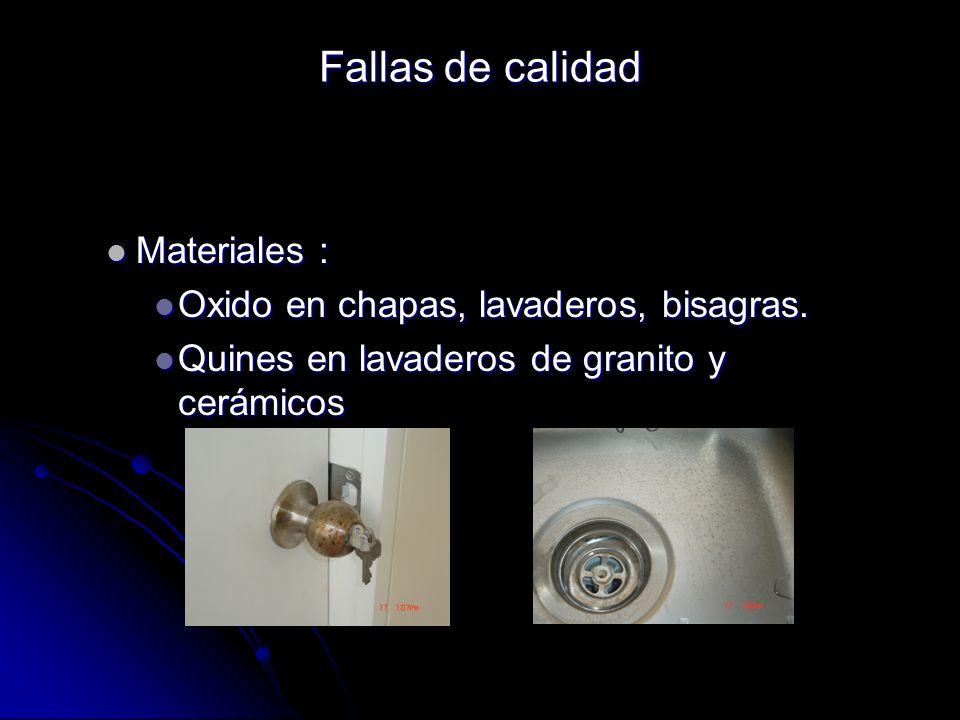 Materiales : Materiales : Oxido en chapas, lavaderos, bisagras. Oxido en chapas, lavaderos, bisagras. Quines en lavaderos de granito y cerámicos Quine