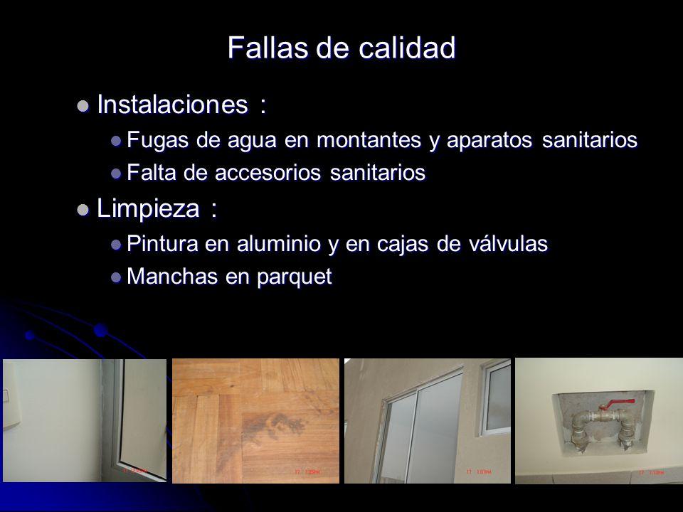 Instalaciones : Instalaciones : Fugas de agua en montantes y aparatos sanitarios Fugas de agua en montantes y aparatos sanitarios Falta de accesorios