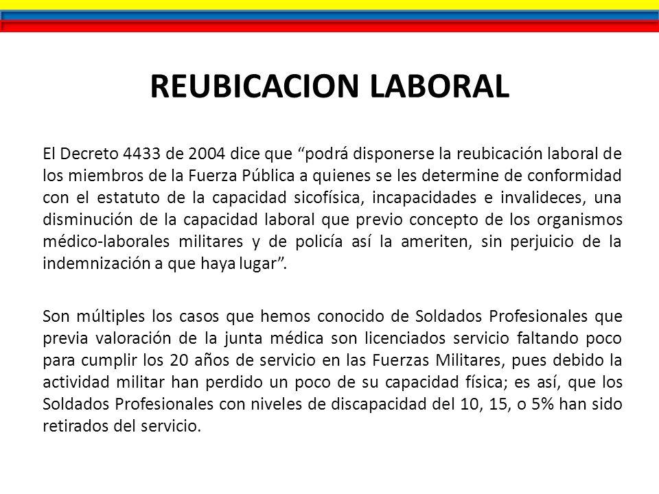 REUBICACION LABORAL El Decreto 4433 de 2004 dice que podrá disponerse la reubicación laboral de los miembros de la Fuerza Pública a quienes se les det