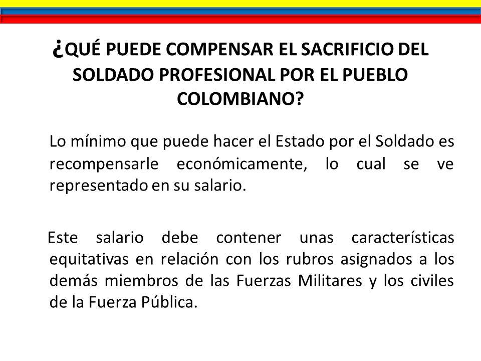 ¿ QUÉ PUEDE COMPENSAR EL SACRIFICIO DEL SOLDADO PROFESIONAL POR EL PUEBLO COLOMBIANO? Lo mínimo que puede hacer el Estado por el Soldado es recompensa