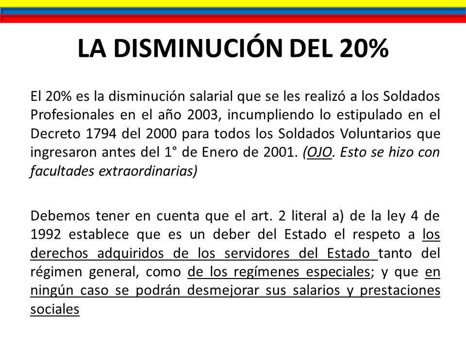LA DISMINUCIÓN DEL 20% El 20% es la disminución salarial que se les realizó a los Soldados Profesionales en el año 2003, incumpliendo lo estipulado en