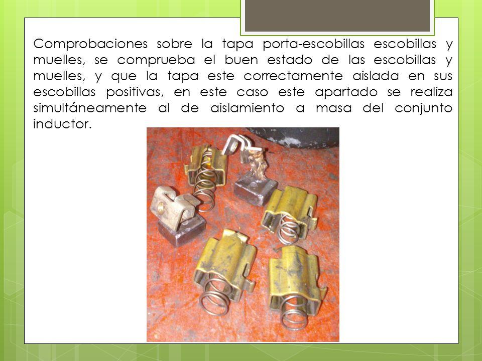 Comprobaciones sobre la tapa porta-escobillas escobillas y muelles, se comprueba el buen estado de las escobillas y muelles, y que la tapa este correc