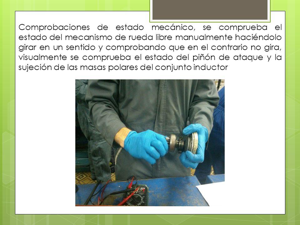 Comprobaciones de estado mecánico, se comprueba el estado del mecanismo de rueda libre manualmente haciéndolo girar en un sentido y comprobando que en