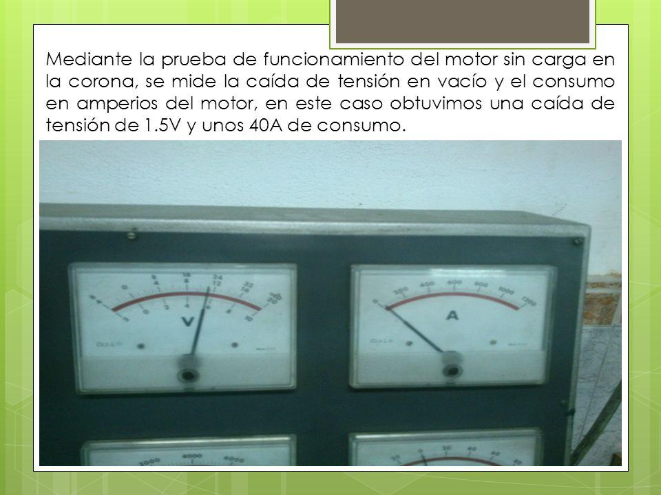Mediante la prueba de funcionamiento del motor sin carga en la corona, se mide la caída de tensión en vacío y el consumo en amperios del motor, en est