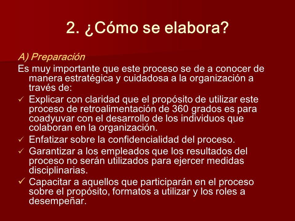 2. ¿Cómo se elabora? A) Preparación Es muy importante que este proceso se de a conocer de manera estratégica y cuidadosa a la organización a través de