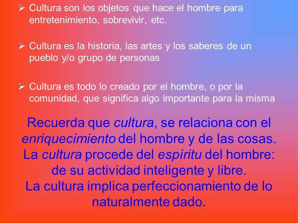 Recuerda que cultura, se relaciona con el enriquecimiento del hombre y de las cosas. La cultura procede del espíritu del hombre: de su actividad intel